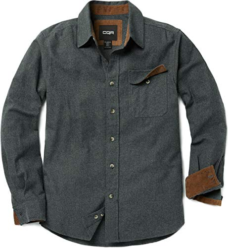 CQR Men's Flannel Long Sleeved Button-Up Plaid All-Cotton Brushed Shirt, Corduroy Lined(hof113) - Grey, X-Large
