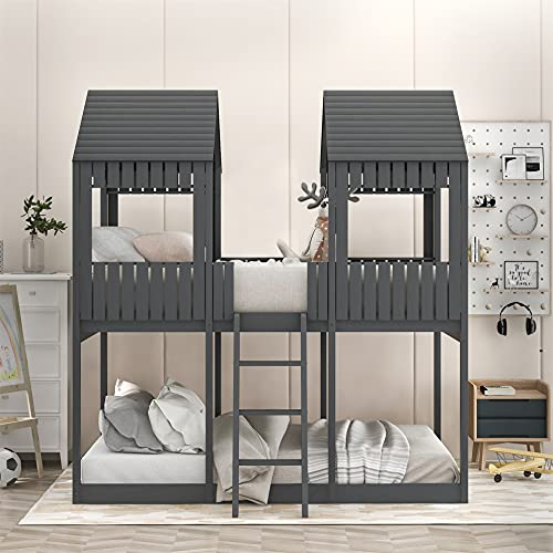 House Bed for Kids ,Full Over Full House Bunk Bed with Roof, Window, Wood Full Size House Bed for Toddler, Teens, Girls, Boys,No Box Spring Needed, Gray