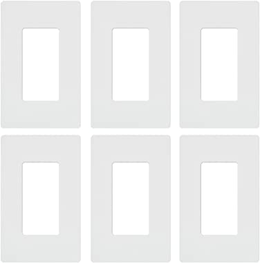 Lutron CW-1-WH Claro Maestro Cw Rectangular Screw less Seamless Wall Plate, Pack of 6