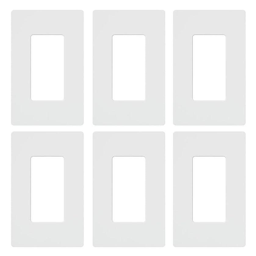 Lutron Claro 1 Gang Decorator Wallplate (6-Pack), CW-1-WH-6, White