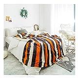 Wzz Verdicken Plüschdecke Sherpa Fleece-Decke Aus Weichem Streifen Für Das Schlafsofa,Orange,150 * 200cm
