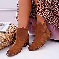 2020新しい女性のブーツ秋冬の女性のファッションフラットブーツレディース靴革セクシーなアンクルブーツ35-43,ブラウン,35