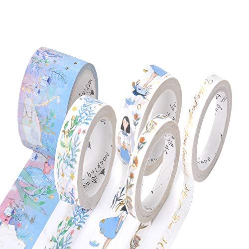手帳テープセットと紙テープセット かわいいファッションのプレゼント装飾 7つのシリーズのセット 五巻の大きさは違っています (603-A)
