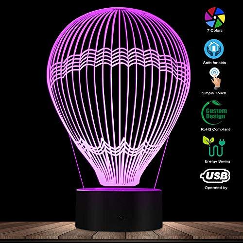 3d lámpara óptico lámpara óptico illusions globo aerostático,Lámpara de noche USB recargable El mejor regalo para sobrina, nieto, hijo - Estilo 580 - Interruptor táctil