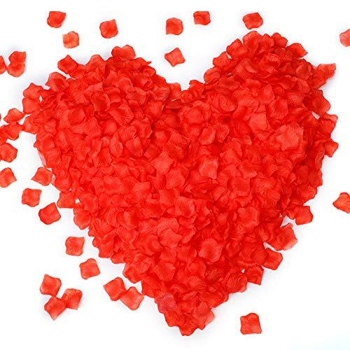 Environ 2250 pétales de fleurs artificielles, Pétales de Rose de Soie pour confettis d'allée de mariage, soirée romantique, Saint-Valentin, lit, décoration de table