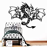 LSMYM Etiqueta engomada del dragón de la moda Papel pintado de vinilo impermeable Decoración del hogar Calcomanías de pared de PVC Calcomanías de arte Azul L 43cm X 59cm