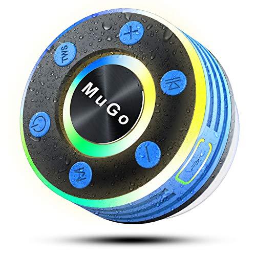 Altavoz Ducha Bluetooth Portátil Impermeable IPX7 con Ventosa Extraíble, TWS Sonido Estéreo HD Reproductor Bluetooth Ducha con Micrófono, 8Horas de Reproducción Manos Libre, Luz LED de Respiración