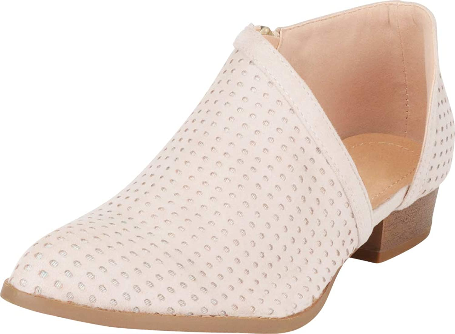 Cambridge Select Women's Pointed Toe Open Shank Side Cutout Perforated Shootie Ankle Bootie