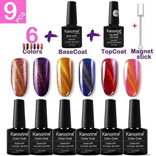 Kanorine Gel-Nagellack-Set, 6 Farben plus Unter- und Überlack, Soak-Off-UV/LED-Gel-Nagellack, lang haltender Gel-Lack, Maniküre-Geschenk-Set, 8 Stück à 10 ml
