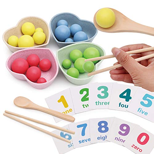 FINIVE Pretend Play Educational Toys Playset, Wooden Beads Chopsticks Spoon Bowl Math Cards Color Learning Education Kids Toy
