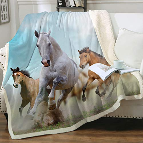 Sleepwish Galloping Horse Super Soft Fleece Sherpa Comfort Caring Gift Throw Blanket Wild Horses Running in Dust Print Plush Blanket Western Cowboy Girls Bed Throws Throw(50'x60')