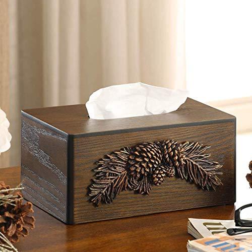 ZTMN Bandeja de Caja de pañuelos de Escritorio de Madera Europea, cenicero Grande Retro con Tapa, Adornos de Regalo Personalizados (Color: A)