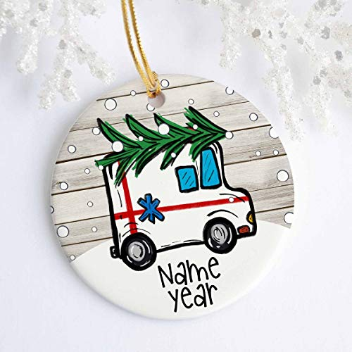 Personalized Ambulance Ornament - Ceramic - Porcelain - Holiday Ornament - Christmas - Name Year - Custom Ornament - Paramedics - Doctor Printed On 2 Sides