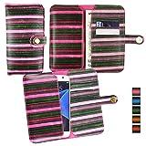 Emartbuy® Pink Vintage Stripes PU Leather Wallet Case