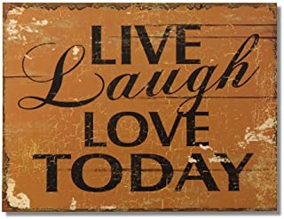 Adeco Decorative Wood Wall Hanging Sign Plaque Live, Laugh, Love Today Brown, Black Home..