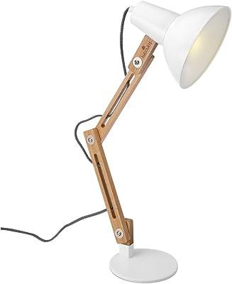 Tomons Lámpara de Escritorio de Madera, Lámpara de Mesa Diseñada, Lámparas de Lectura, Lámpara de Estudio, Lámpara de Trabajo, Lámpara de Oficina, Lámpara de Cabecera de Noche, Bombilla LED, Blanco: Amazon.es: Iluminación