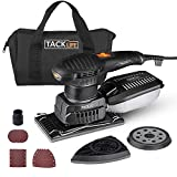 TACKLIFE 3 in 1 Electric Sander, Orbital Sander with 15 Pcs Sandpapers 6 Variable Speeds 7000RPM-12000RPM, Efficient Dust Collection System Detail Sander Machine DIY for Woodworking-MDS01B
