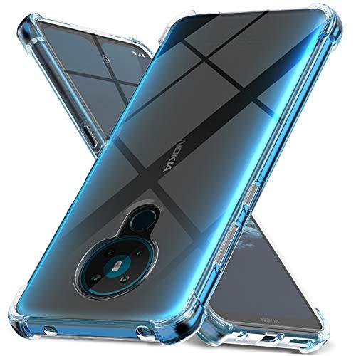 Ferilinso Hülle für Nokia 5.3 Hülle, [Version mit Vier Ecken verstärken] [Kamerapflegeschutz] Stoßfeste, weiche TPU-Silikonhülle aus Gummi für Nokia 5.3 Hülle (Transparent)