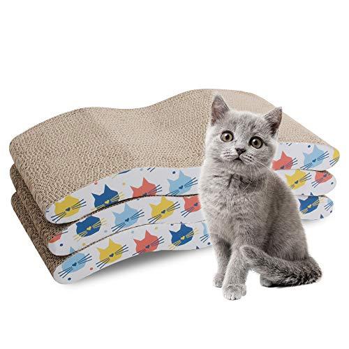 Pet Prime 3 Stück Kratzmatte aus Karton mit Katzenminze, Recycling-Well-Kratzkissen, wendbares Ersatz-Kratzkissen für Katzen Lounge Sofa (wellenförmige Kratzpad)
