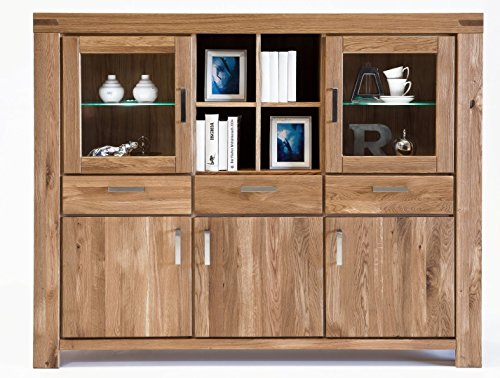 moebelstore24 Highboard KIROYAL Wildeiche Massiv geölt