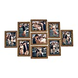 Marcos de Fotos 9pcs / Set Portarretratos Pared Photo Frame Set 7-Pulgadas Marcos de Fotos Creativo Boda de la Foto de la Serie de la Familia for la Imagen de la decoración (Color : Walnut Color)