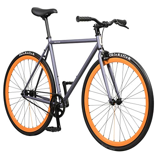 Pure Fix Original Fixed Gear Single Speed Bicycle, Papa Matte Gray/Orange, 54cm/Medium