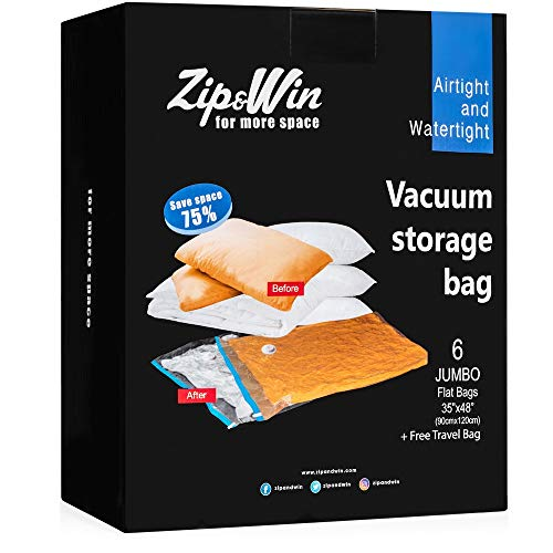 Zip&Win Vacuum Storage Bags 35x48 Jumbo Size Pack of 6 Pieces Space Saver Bags for Seasonal Clothes Duvets Pillows Blankets Free Travel Bag