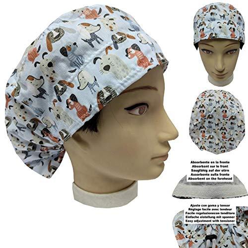 OP-Hauben Frau KLEINE WELPEN für lange Haare Saugfähiges Handtuch auf der Stirn einfach einstellbar Arzt Pflege Operation Zahnheilkunde Veterinär Küche