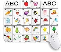 GUVICINIR マウスパッド 個性的 おしゃれ 柔軟 かわいい ゴム製裏面 ゲーミングマウスパッド PC ノートパソコン オフィス用 デスクマット 滑り止め 耐久性が良い おもしろいパターン (文字の動物と野菜の保育園の組成を持つ教育テーマ広場)