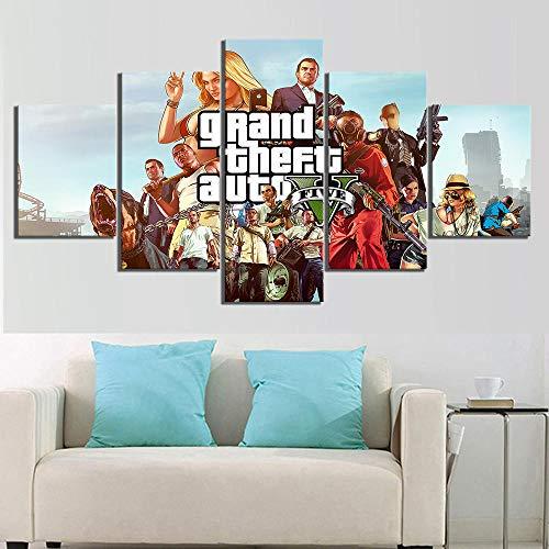 SILUYU 5 stuks spel poster Grand Theft Auto V afbeeldingen canvas schilderij GTA 5 poster Hd muurschilderingen kunstwerk canvas schilderij ingelijst klein formaat