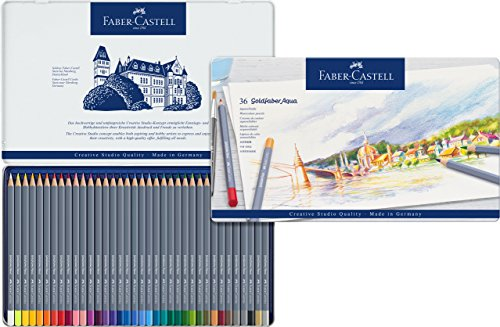 Faber-Castell 114636 - Estuche de metal con 36 ecolápices acuarelables hexagonales Goldfaber Aqua, colores surtidos