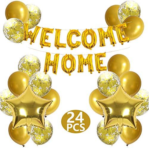 FACHY Willkommen Zuhause Banner Welcome Home Ballon mit Stern Pailletten Luftballons für Hause Familie Partei Dekoration(24 Stück)
