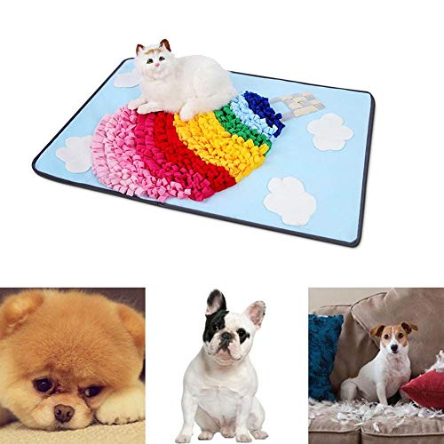Sue-Supply Nieuwe Hond Puzzel Speelgoed Huisdier Snuffle Feeding Mat Saai Interactief Spel Training Deken Regenboog Hot Air Ballon Snuffle Game Training Mat, B