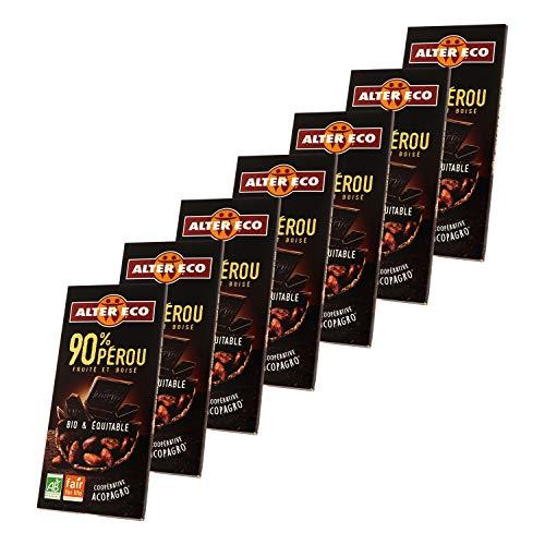Alter Eco Chocolat Noir 90% Bio & Équitable – Fruité & Boisé – 100 g – Lot de 7