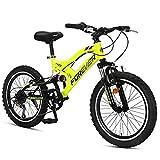 DJYD Kinder-Mountainbikes, 20-Zoll-6-Gang-Doppel Suspension Mountain Bike, High-Carbon Stahl Doppel-V Bremse All Terrain Berg Fahrrad, Gelb FDWFN