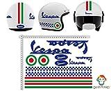 GamesMonkey Pegatinas Casco Kit Casco Vespa BLU Azul Italia Vinilo Viny Pulido Motocicletas, Bicicleta, monopatín, Tabla de Snowboard