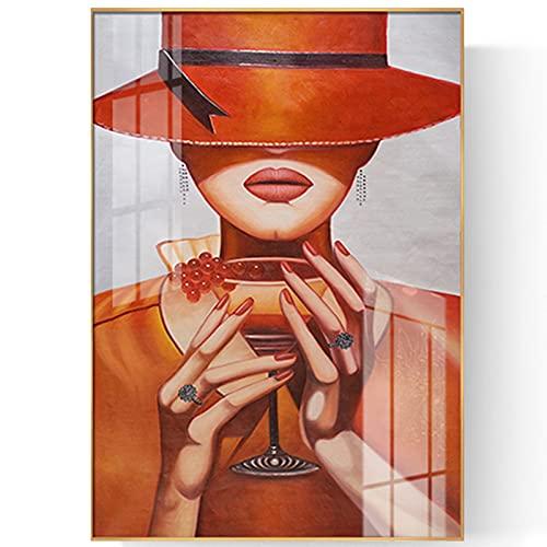 LONG-L Copas De Vino Belle Carteles Arte Prints,Pintur Cartel Hogar Impresión Decoración Casa Sala Poster Cuadro Imagen Enmarcad Wall Fotografía Picture,Orange-70x100
