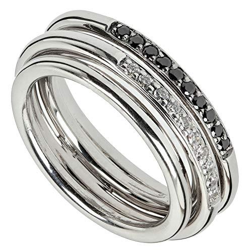 VIVENTY Damen Ring aus Silber 925 mit Zirkonia weiß und schwarz (57 (18.1))