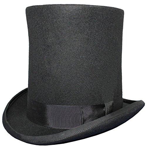 VIZ Homme Lincoln Haute Chapeau Haut-de-Forme – 100% Laine – Doublure en Satin - Noir - X-Large