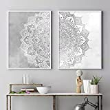 Bohemia Mandala Pattern Wall Art Print Beige Gris y blanco Lienzo Pintura Póster Imagen Yoga Sala de estar Decoración interior de la casa 19.6 'x27.5' (50x70cm) 2pcs Sin marco