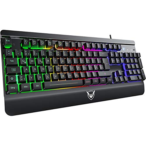 Gaming Tastatur Metallic, PC Tastatur PICTEK Rainbow LED Tastatur mit Handgelenkauflage, 19 Anti-Ghosting, 12 Multimedia Verknüpfungen, 1.6m USB Tastatur, 4 wasserdichte Löcher, Keyboard für Gamer