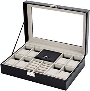 Bloodyrippa Luxury Watch & Rings Storage Box, 8 Grids for Watches, PU Leather Case Finish, Top Transparent Acrylic Display Window, Metal Lock Organizer