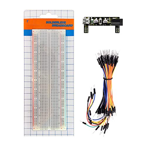 KEYESTUDIO Starter Kit con Power Supply, Breadboard MB-102 Placa de Prototipos (Protoboard) de 830 Pines, 65pcs Jumper de Alambre Breadboard Módulo para Arduino MEGA2560 R3