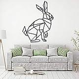 TYLPK Kaninchen abstrakte Polygon Wandtattoo Tier geometrische Kunst Vinyl Wandaufkleber schwarz 76x57cm