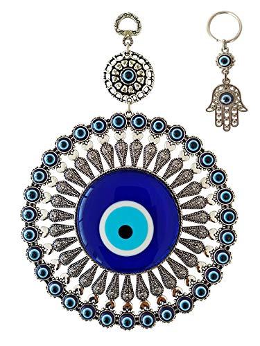 Erbulus Large Glass Turkish Blue Evil Eye Wall Hanging...