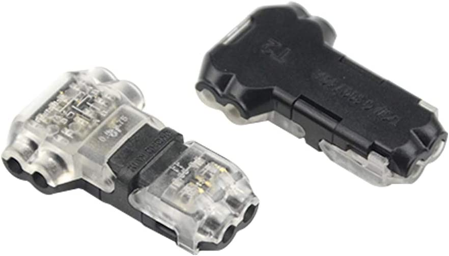 WMYCONGCONG 15 PCS Wire Connector 2 Pin 2 Way Low Voltage Universal Compact Wire T Tap Connectors No Wire-Stripping Required for 20//22 AWG Cable T Type