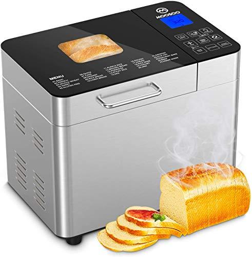 Moosoo Machine à Pain, 25-En-1 Machine Programmable à Pain En Acier Inoxydable avec Réglage Sans Gluten, 2lb Pot Avec Revêtement Céramique Antiadhésif, Panneau Tactile Numériquela