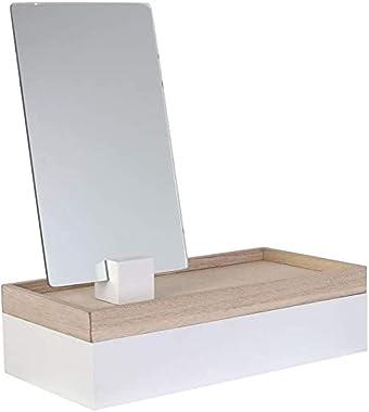 THE HOME DECO FACTORY HD2303 Boite à Bijoux Miroir à Poser Modèle Aléatoire, MDF, Blanc-Beige Gris-Beige, Dimensions : 25 x 1
