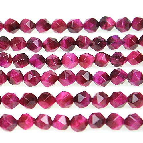 MJDCB - Cuentas de piedra natural facetadas de polígono rojo, piedra energética, energía curativa para la elaboración de joyas (8 mm)