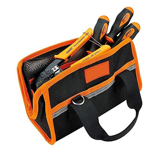 Sac à outils électroportatif Sac multifonctionnel pour outils lourds et sac de rangement Sac à bandoulière à une épaule Paquetage technique Toile 600D Zip-Top Bouche ouverte Design Imperméable Durable